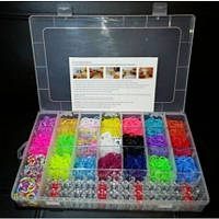 Резиночки для плетения браслетов Rainbow loom набор 4200 шт + станок, 2 крючка, замочки)
