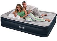 Кровать надувная intex 67738 двуспальная велюровая со встроенным электро насосом