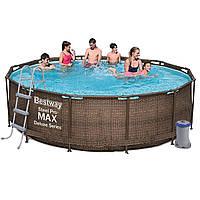 Каркасный бассейн Bestway Ротанг 56709 (366х100) с картриджным фильтром, Круглая, 366х100