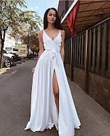 Белое длинное вечернее платье с запахом с открытыми плечами (XS/S, S/M, M/L)