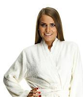 Махровый бамбуковый халат с кружевом FLASHY, молочный S