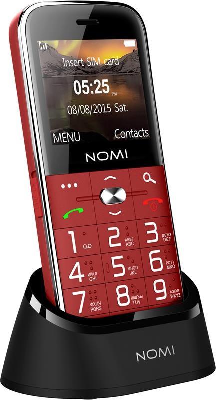 """Мобильный телефон Nomi i220 Dual Sim Red; 2.2"""" (176x144) TN / клавиатурный моноблок / MediaTek MT6261D / ОЗУ 32 МБ / 32 МБ встроенной / камера 0.08 Мп"""