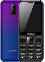 """Мобильный телефон Nomi i284 Dual Sim Violet/Blue; 2.8"""" (320x240) TN / клавиатурный моноблок / ОЗУ 32 МБ / 32 МБ встроенной + microSD до 8 ГБ / камера"""
