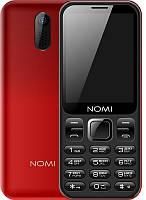 """Мобильный телефон Nomi i284 Dual Sim Red; 2.8"""" (320x240) TN / клавиатурный моноблок / ОЗУ 32 МБ / 32 МБ встроенной + microSD до 8 ГБ / камера 1.3 Мп /"""
