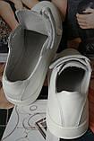 Mante white! Брендовые кожаные белые женские туфли на липучках кроссовки слипоны кеды, фото 3