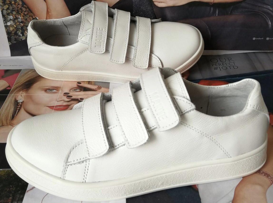 Mante white! Брендовые кожаные белые женские туфли на липучках кроссовки слипоны кеды