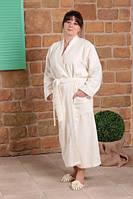 Махровый бамбуковый халат с кружевом FLASHY, молочный L