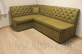 Розкладний кутовий диван для кухні (Оливковий)