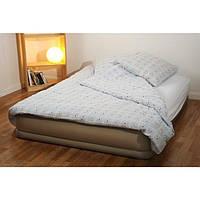 Кровать надувная intex 67748 двуспальная со встроенным электро насосом велюровая