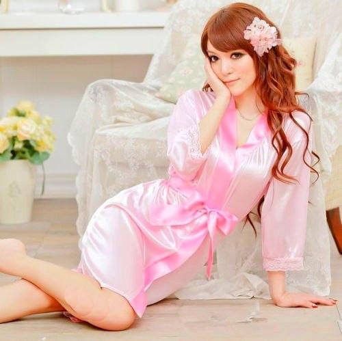 """Ніжний рожевий халатик """"Ембер""""3981 з мереживом на рукавах Ре5 сексуальний еротичний інтимний накидка бодік"""
