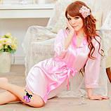 """Ніжний рожевий халатик """"Ембер""""3981 з мереживом на рукавах Ре5 сексуальний еротичний інтимний накидка бодік, фото 2"""