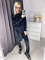 Женский велюровый костюм штаны и кофта с капюшоном чёрный 42-44 46-48