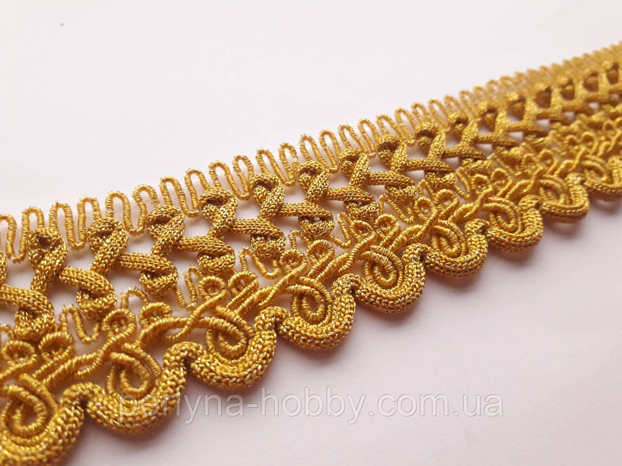Тесьма декоративная Тасьма декоративна люрекс золото  3,8 см