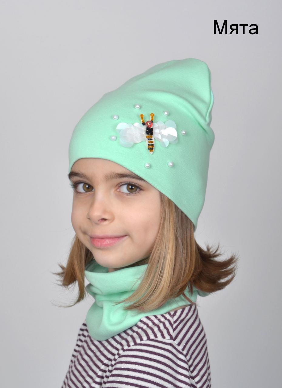 202 Комплект шапка+хомут Пчелка (белая). р.52-54 (4-7 лет) Есть св.мята,  красный