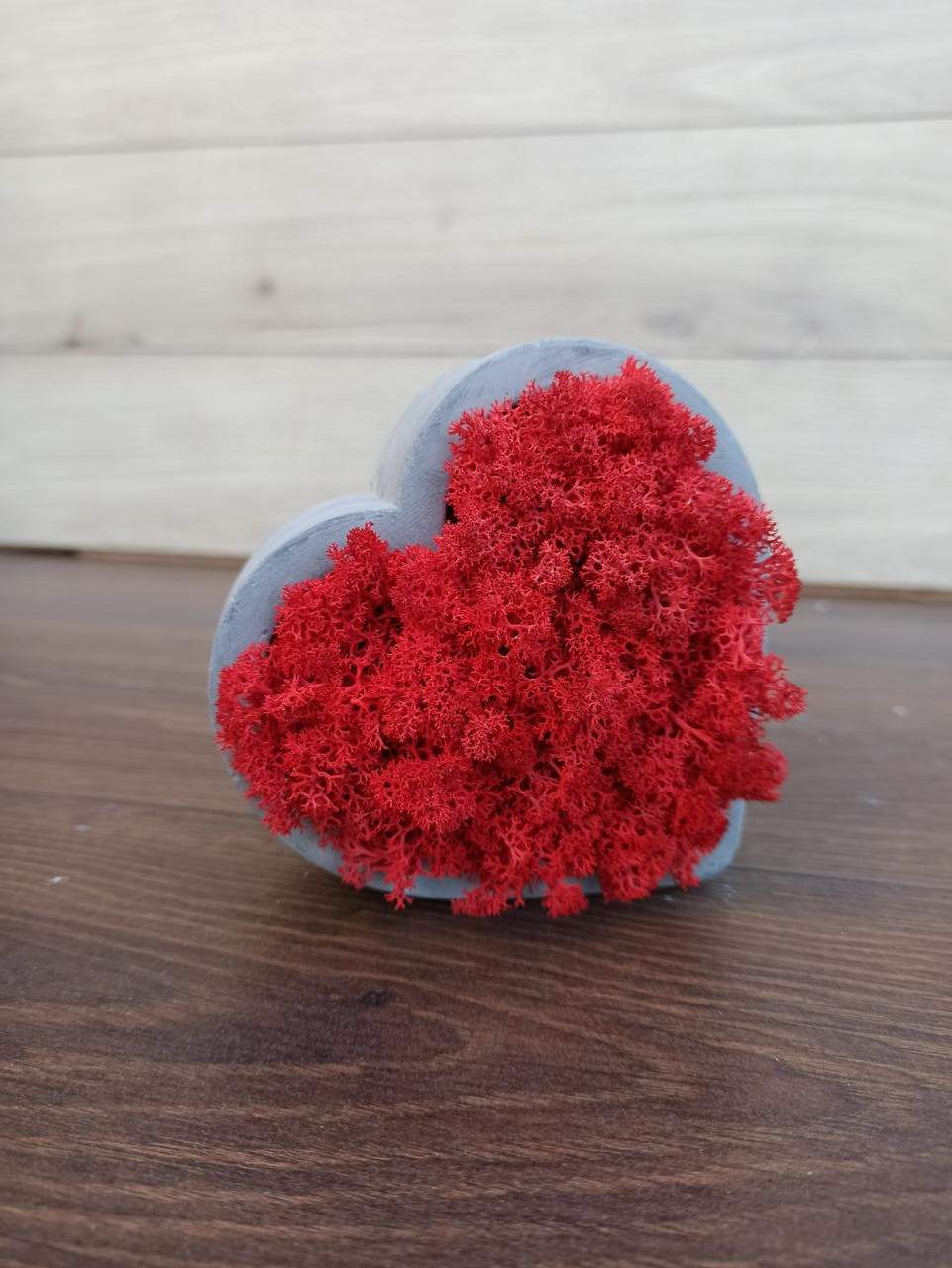 Гіпсове кашпо у формі серця з червоним мохом.