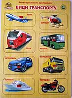 Деревянная рамка-вкладыш с ручками Виды транспорта (укр), Вундеркинд (РВ-064)