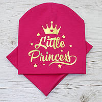 Демисезонная Princess золото Комплект шапка + баф малина 48-52р.