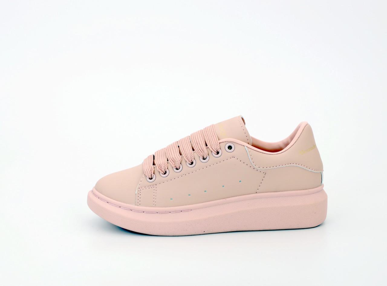 Женские кроссовки Alexander McQueen Oversized Sneakers Pink. ТОП Реплика ААА класса.