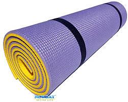 """Каремат для йоги 1800×600×9мм, """"Фитнес"""", двухслойный, фиолетовый/желтый"""