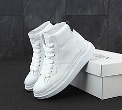 Женские кроссовки Alexander McQueen HI White белые. ТОП Реплика ААА класса.