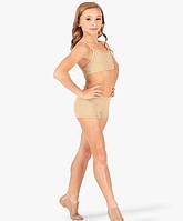 Спортивные детские телесные шорты для танцев и гимнастики бифлекс, фото 1