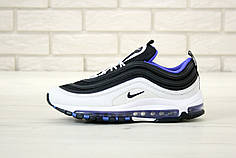 Мужские кроссовки Nike Air Max 97 White Black Blue. ТОП Реплика ААА класса.