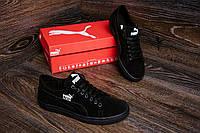 Мужские кожаные кеды Puma SUEDE Black leather (реплика) 42,43,45рр