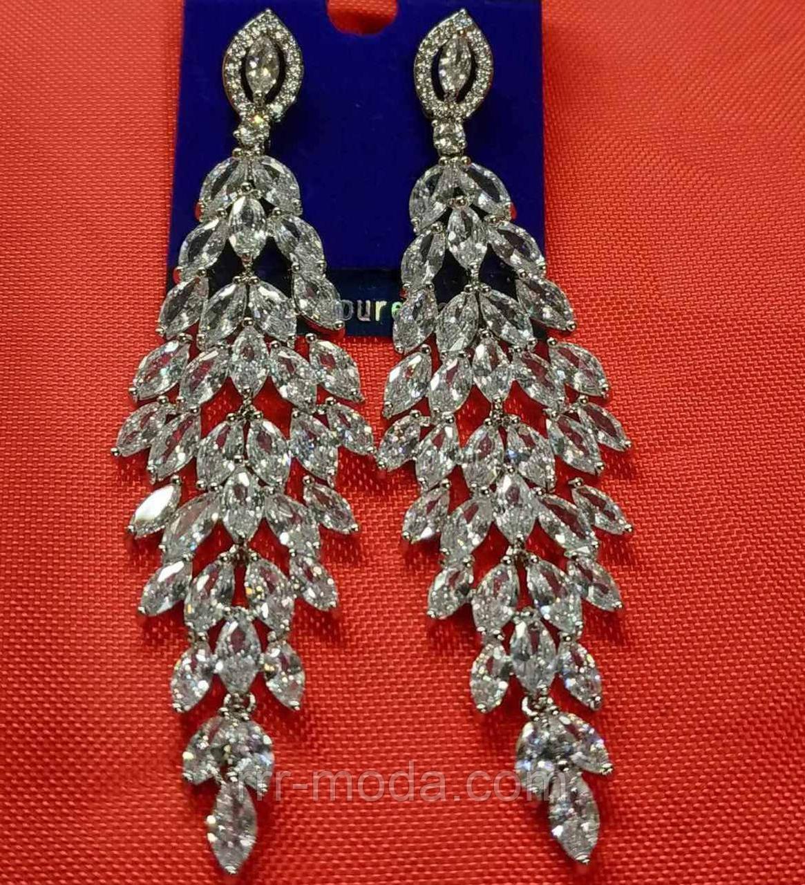 Длинные серьги сваровски с резными кристаллами. 441