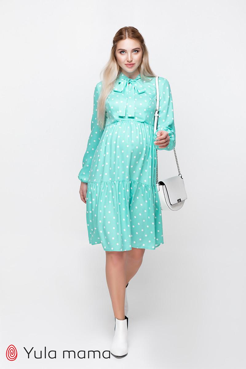 Платье для беременных и кормящих TEYANA DR-10.041 аквамарин в горошек