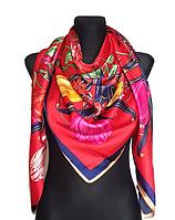Шелковый платок Флоренция, 135*135 см, красный