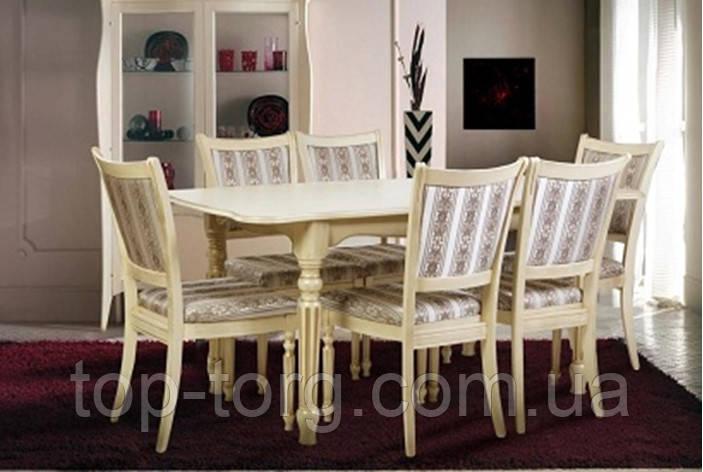 Стол обеденный Венеция 120 слоновая кость c патиной