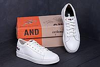Мужские кожаные кеды  FILA Soft White Leather (реплика) 40-45рр
