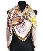 Шелковый платок Флоренция, 135*135 см, бежевый