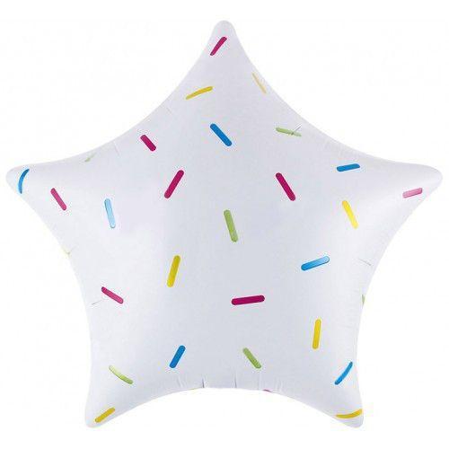 """Фольгована кулька зірка білий конфеті 18""""  Китай"""