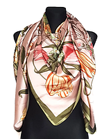 Шелковый платок Fashion Флоренция 135*135 см пудровый, фото 1