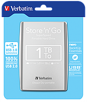 Внешний жесткий диск Verbatim HDD ext. 2,5 1TB Store 'n' Go USB 3.0 53071 silver