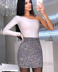 Женская юбка букле с пайетками розовая, черная, голубая