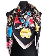 Шелковый платок Fashion Флоренция 135*135 см черный, фото 1