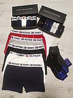Набор мужских трусов Tommy Hilfiger 5 шт + носки 12 пар в подарочной упаковке Боксеры трусы шорты