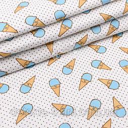 """Фланель детская """"Мороженое рожок с мелким горошком"""" голубой на белом, ширина 180 см"""