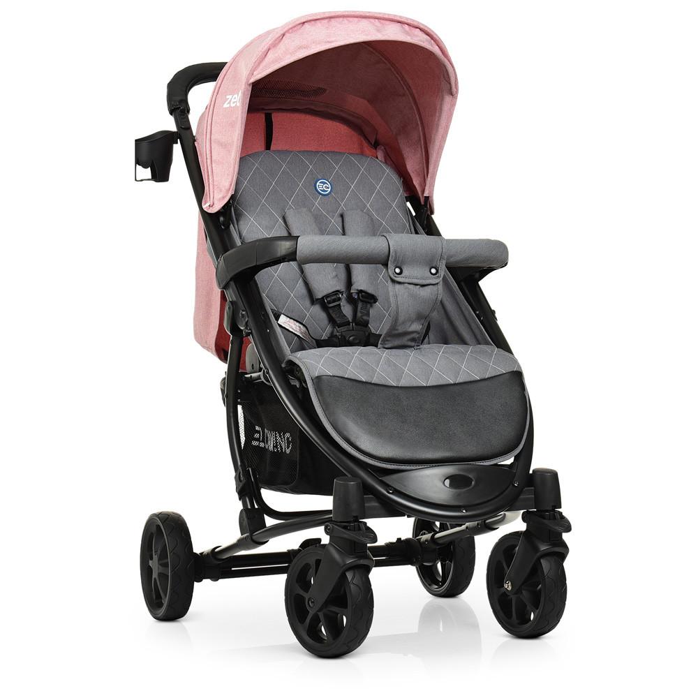 Детская коляска El Camino ME 1011L ZETA Pale Pink розовый 5-ти точечные ремни безопасности