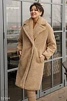 Модное меховое пальто женское бежевого цвета
