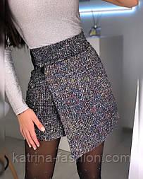 Женская шикарная юбка букле с пайетками асимметрия на запах розовая, черная, голубая