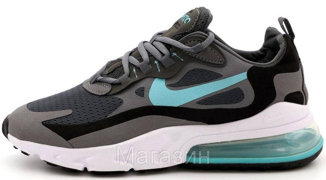 Мужские кроссовки Nike Air Max 270 React Grey/Blue Найк Аир Макс 270 серые