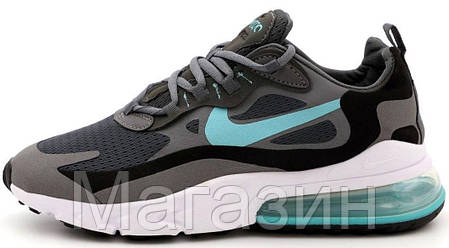 Мужские кроссовки Nike Air Max 270 React Grey/Blue Найк Аир Макс 270 серые, фото 2
