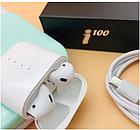 Блютуз навушники i100. Бездротові навушники Bluetooth білі, фото 6
