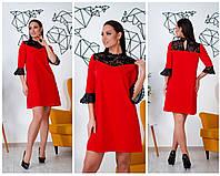 Батальне плаття з гіпюром на декольте, 3кольори . Р-ри 46-60, фото 1