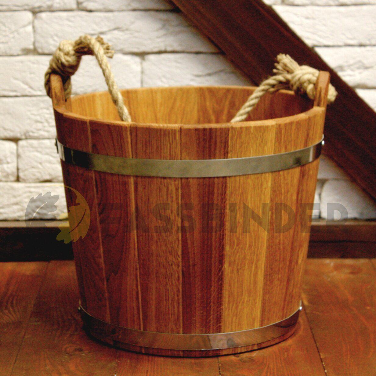 Ведро для бани Fassbinder™ дубовое, 15 литров