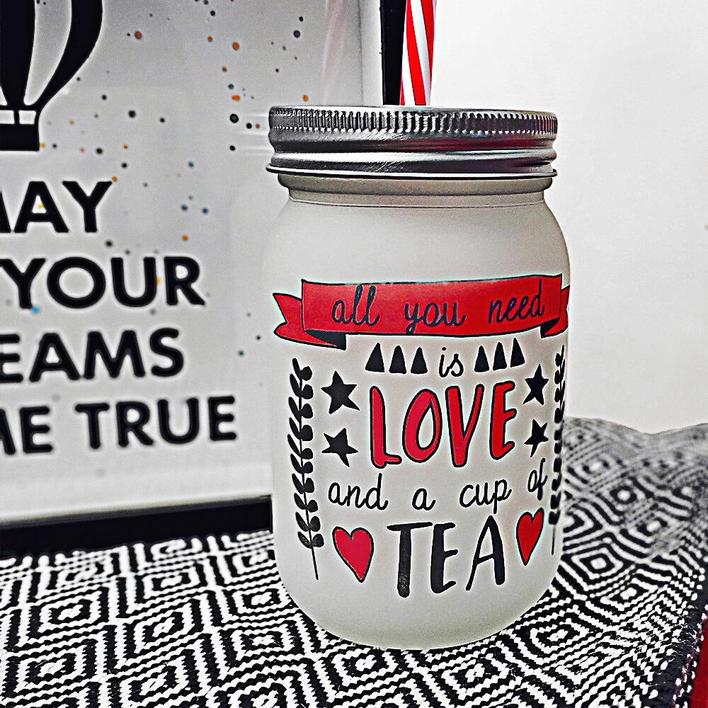 Банка c трубочкой Jar All you need is love and a cup of tea 450 мл (JA_20L027_KR)