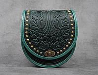 """Женская кожаная зелёная сумка """"Калина"""" металлом, фото 1"""